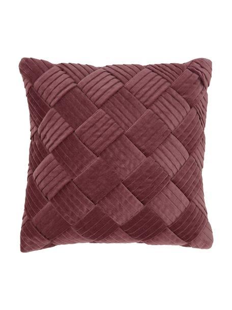 Funda de cojín de terciopelo texturizada Sina, Terciopelo (100%algodón), Rosa, An 45 x L 45 cm