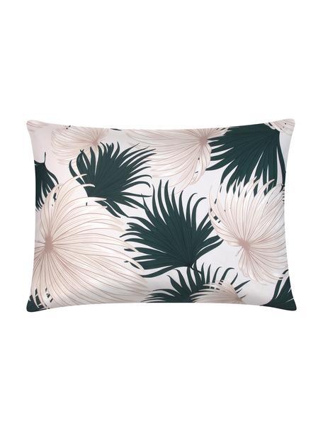 Funda de almohada de satén Aloha, 50x70cm, Beige, verde, An 50 x L 70 cm