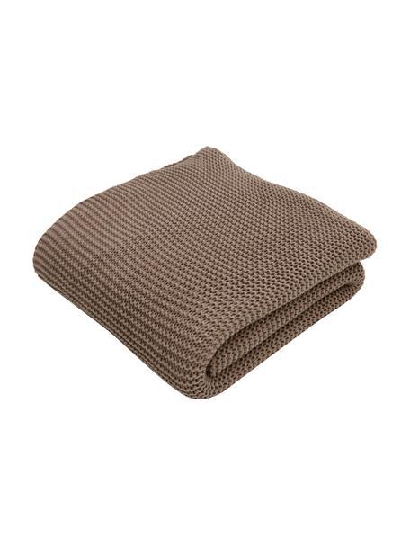 Coperta a maglia in cotone biologico marrone Adalyn, 100% cotone biologico, certificato GOTS, Marrone, Larg. 150 x Lung. 200 cm