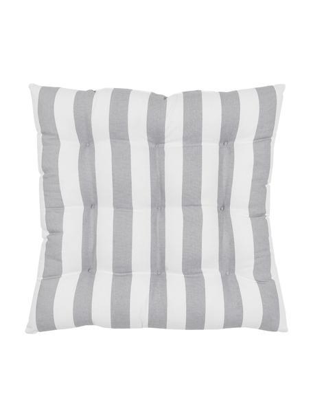 Gestreiftes Sitzkissen Timon in Hellgrau/Weiß, Bezug: 100% Baumwolle, Hellgrau, Weiß, 40 x 40 cm