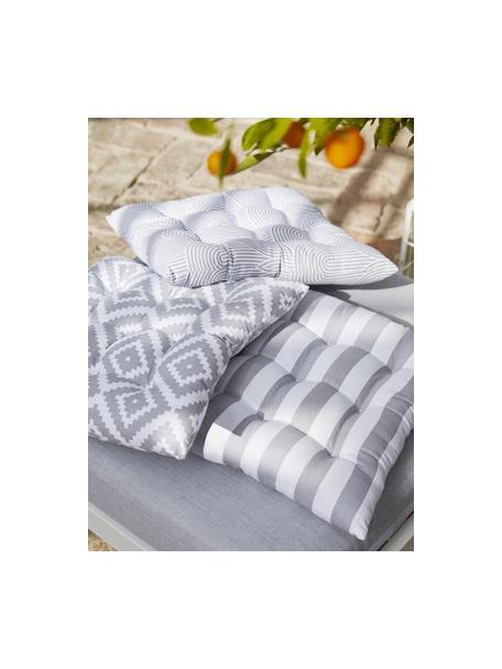 Cojín de asiento a rayas Timon, Funda: 100%algodón, Gris claro, blanco, An 40 x L 40 cm