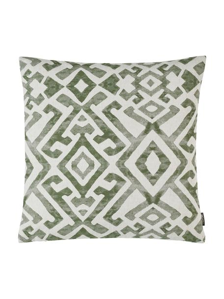 Ethno  kussenhoes Elani in gewassen look, 65%polyester, 25%viscose, 10%linnen, Crèmekleurig, groen, 40 x 40 cm
