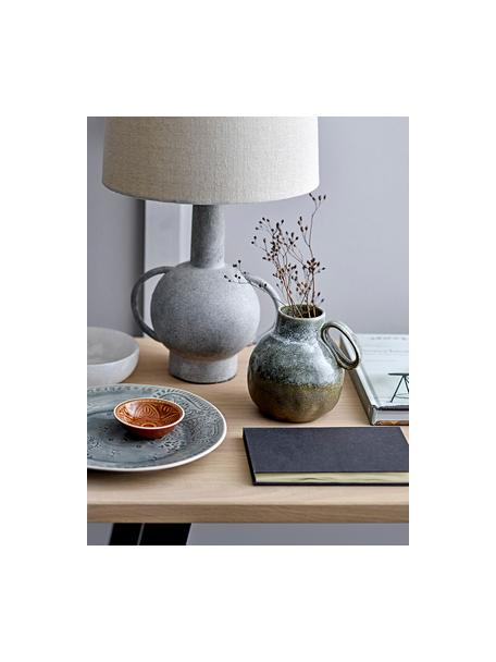 Grosse Tischlampe Ranya aus Terrakotta und Leinen, Lampenschirm: Leinen, Dekor: Metall, Grau, Hellbeige, Ø 31 x H 59 cm