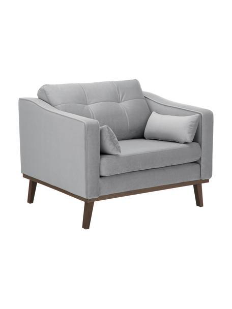Klassieke fluwelen fauteuil Alva in grijs met beukenhouten poten, Bekleding: fluweel (hoogwaardig poly, Frame: massief grenenhout, Poten: massief gebeitst beukenho, Grijs, B 102 x D 92 cm