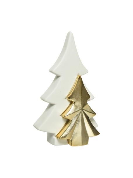 Decoratief boompje Golden Tree H 22 cm, Porselein, Wit, goudkleurig, 7 x 22 cm