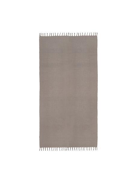 Dun  katoenen vloerkleed Agneta in grijs, handgeweven, 100% katoen, Grijs, B 50 x L 80 cm (maat XXS)