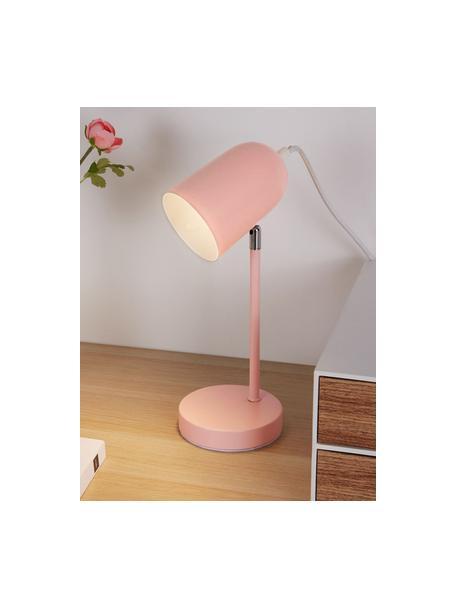 Kleine bureaulamp True Pearl in roze, Lampenkap: gecoat metaal, Lampvoet: gecoat metaal, Roze, 12 x 34 cm