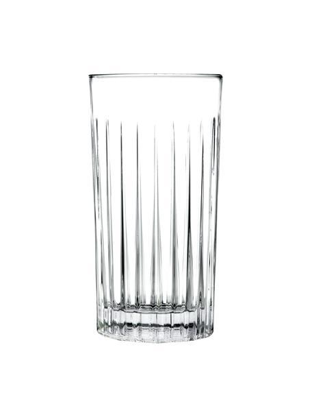 Kristallen longdrinkglazen Timeless met groefreliëf, 6 stuks, Luxion kristalglas, Transparant, Ø 8 x H 15 cm