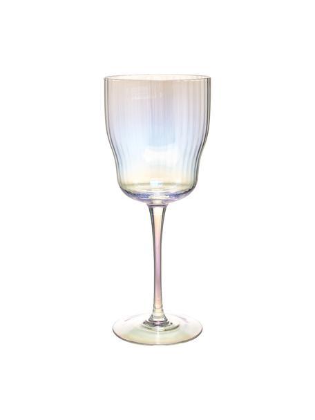 Mondgeblazen wijnglazen Juno met groefreliëf en paarlemoer glans, 4 stuks, Glas, Transparant, Ø 9 x H 21 cm