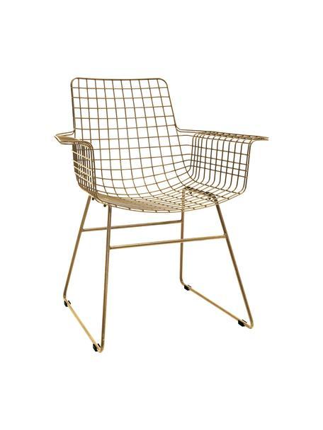 Sedia con braccioli in metallo Wire, Metallo verniciato a polvere, Oro, Larg. 72 x Prof. 56 cm