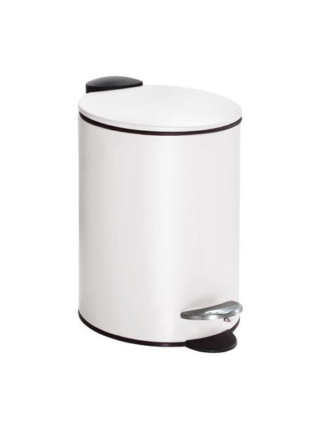 Abfalleimer Silence mit Pedalfunktion, Metall, lackiert, Weiß, Ø 17 x H 24 cm