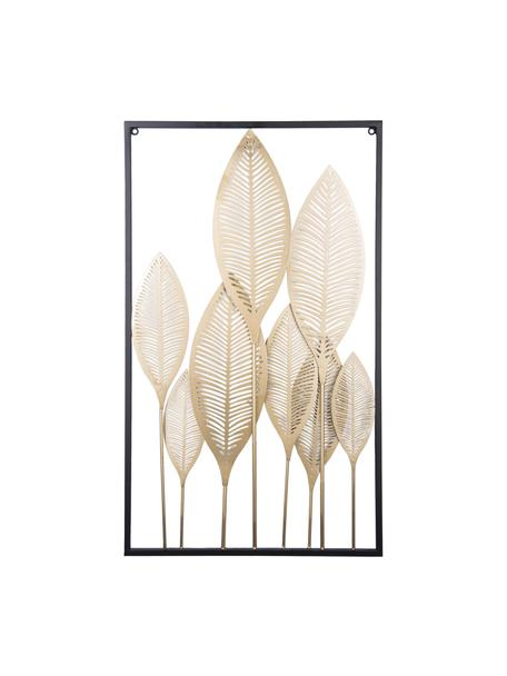 Wandobject Art Leaves, Gecoat metaal, Goudkleurig, zwart, 44 x 80 cm