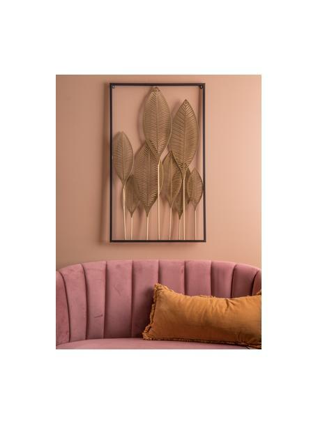 Wandobjekt Art Leaves, Metall, beschichtet, Goldfarben, Schwarz, 53 x 88 cm