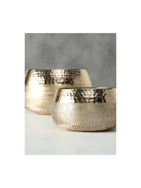 Set de portavelas Lukeria, 2uds., Aluminio recubierto, Dorado, Set de diferentes tamaños