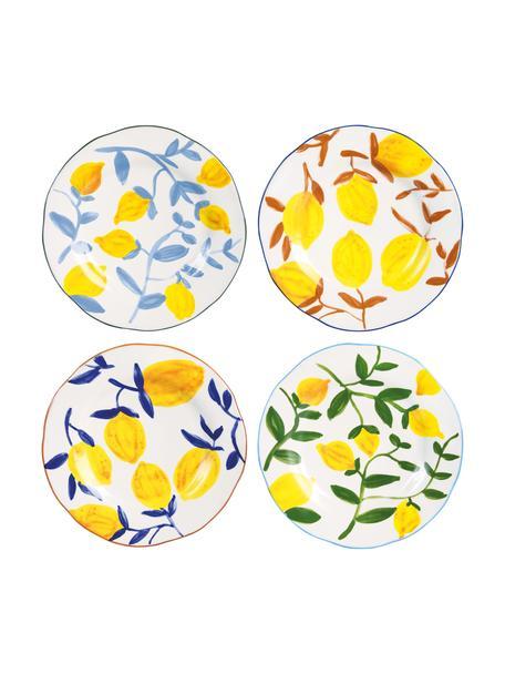 Fel beschilderd ontbijtbord Twig met citroenmotief, 4-delig, Keramiek, Multicolour, Ø 22 cm