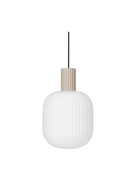 Kleine scandi hanglamp Lolly van glas, Lampenkap: opaalglas, Decoratie: gecoat metaal, Baldakijn: gecoat metaal, Wit, beige, Ø 27 x H 42 cm
