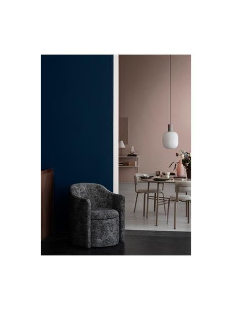 Lámpara de techo pequeña Lolly, estilo escandinavo, Pantalla: vidrio, Fijación: metal recubierto, Cable: cubierto en tela, Blanco, beige, Ø 27 x Al 42 cm