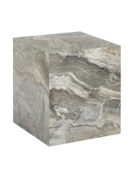 Tavolino quadrato effetto marmo Lesley, Pannello di fibra a media densità (MDF) rivestito con foglio di melamina, Grigio marmorizzato, Larg. 45 x Alt. 50 cm
