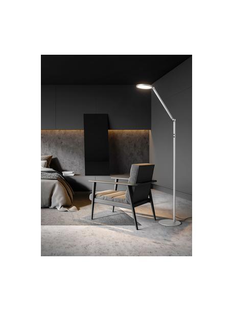 Dimbare LED leeslamp Regina, Lampenkap: metaal, methacrylaat, Lampvoet: metaal, Diffuser: kunststof, Zilverkleurig, 60 x 160 cm