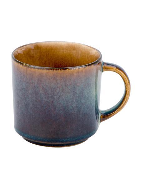 Ręcznie wykonany kubek Quintana, 2 szt., Porcelana, Odcienie bursztynowego, brązowy, odcienie niebieskiego, Ø 9 x W 9 cm