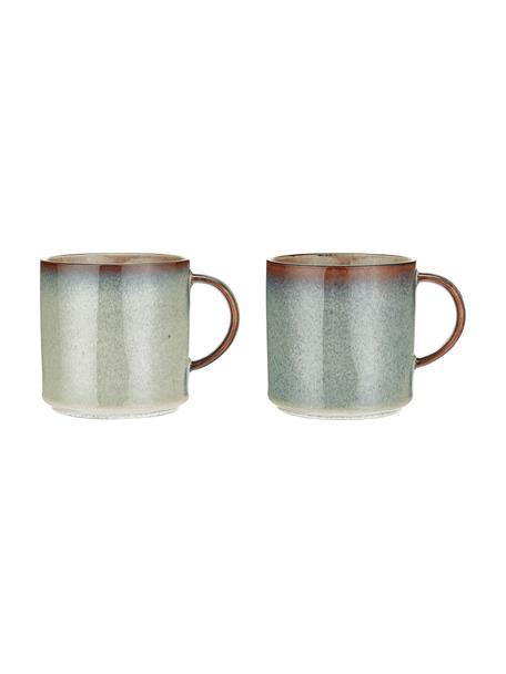 Tazas de café artesanales Quintana Amber, 2uds., Porcelana, Ámbar, marrón, azul, Ø 9 x Al 9 cm