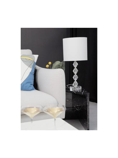 Grote tafellamp Diamond van kristalglas, Lampenkap: textiel, Lampvoet: kristalglas, Lampenkap: wit. Lampvoet: transparant. Snoer: wit, Ø 25 x H 53 cm