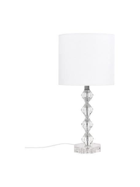 Lámpara de mesa grande de cristal Diamond, Pantalla: tela, Blanco, transparente, Ø 25 x Al 53 cm