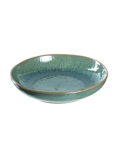 Suppenteller Matera in Grün mit Farbverlauf und Unebenheiten, 6 Stück, Keramik, Grün, Ø 21 x H 4 cm