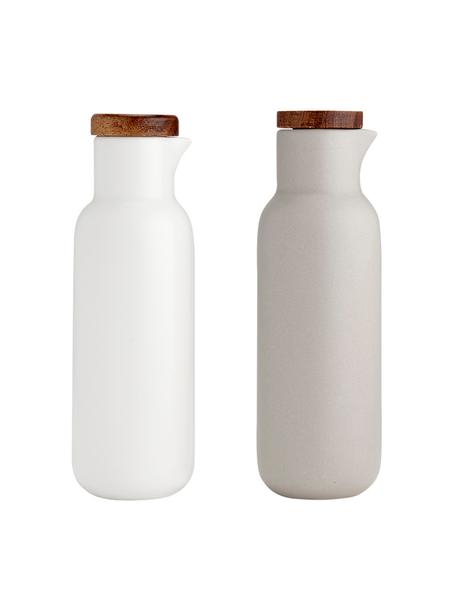 Azijn- en olie-dispenser Essentials van porselein en acaciahout, 2-delig, Porselein, acaciahout, Zandkleurig, wit, acaciahoutkleurig, Ø 6 x H 18 cm