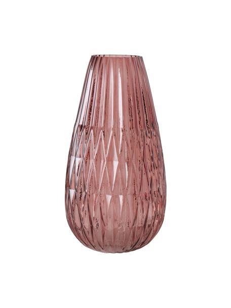 Jarrón grande de vidrio Rubina, Vidrio tintado, Rosa, Ø 20 x Al 36 cm