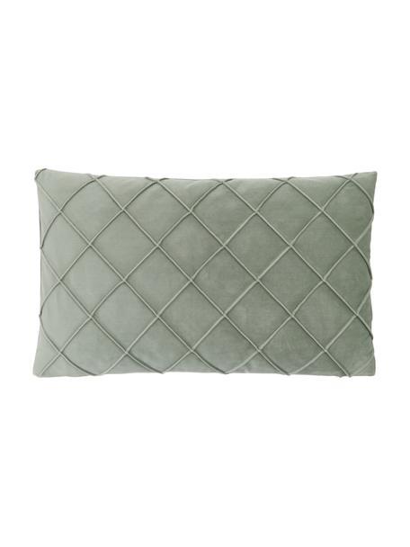 Poszewka na poduszkę z aksamitu Luka, Aksamit (100% poliester), Zielony, S 30 x D 50 cm