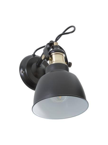 Wandleuchte Thornford, Lampenschirm: Stahl, lackiert, Dekor: Stahl, vermessingt, Schwarz, Messing, 15 x 20 cm