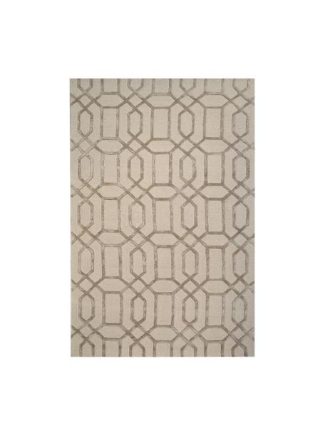 Alfombra artesanal de lana Vegas, Parte superior: 80%lana, 20%viscosa, Reverso: 100%algodón Las alfombra, Beige, crema, An 120 x L 185 cm (Tamaño S)