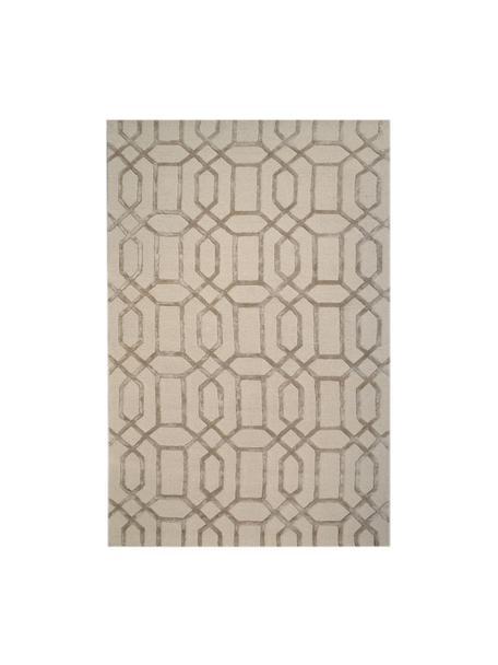 Tappeto in lana taftato a mano con motivo a rilievo Vegas, Retro: 100% cotone Nel caso dei , Beige, crema, Larg. 120 x Lung. 185 cm  (taglia s)