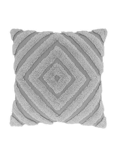 Kussenhoes Kara met getuft patroon, 100% katoen, Grijs, 50 x 50 cm