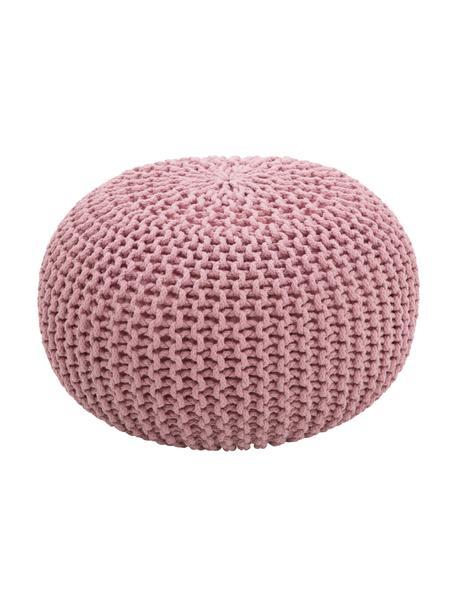 Handgemaakte gebreide poef Dori, Bekleding: 100% katoen, Roze, Ø 55 x H 35 cm