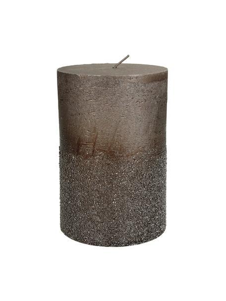 Candela pilastro Glitters, Cera, Marrone, Ø 10 x Alt. 15 cm