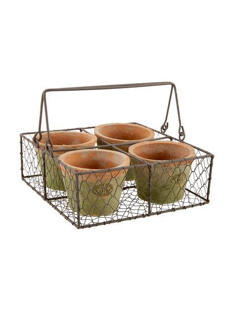 Pflanztopf-Set Daria aus Terrakotta, 5-tlg., Übertopf: Terrakotta, Korb: Metall, Terrakotta, Braun, 24 x 10 cm