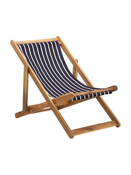 Inklapbare ligstoel Zoe, Frame: massief geolied acaciahou, Donkerblauw, wit, B 59 x D 91 cm