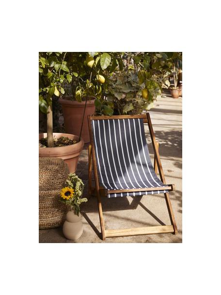 Sedia a sdraio pieghevole Zoe, Struttura: legno di acacia massiccio, Blu scuro, bianco, Larg. 59 x Prof. 84 cm