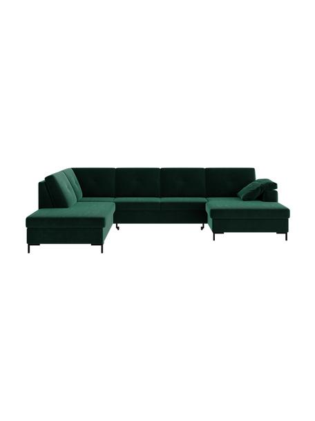 Sofa narożna XL z funkcją spania i miejscem do przechowywania Moor, Tapicerka: 100% poliester z systemem, Stelaż: drewno liściaste, drewno , Nogi: drewno lakierowane Dzięki, Ciemny zielony, S 335 x G 235 cm