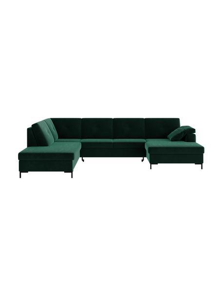 Sofa narożna XL z funkcją spania i ze schowkiem Moor, Tapicerka: 100% poliester z systemem, Stelaż: drewno liściaste, drewno , Nogi: drewno lakierowane Dzięki, Ciemny zielony, S 335 x G 235 cm