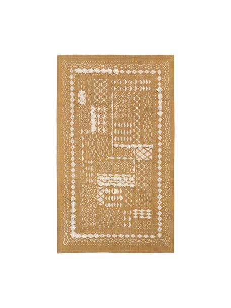 Katoenen boho vloerkleed Boa met hoog-laag patroon in mosterdgeel/wit, 100% katoen, Geel, wit, B 60 x L 90 cm (maat XXS)