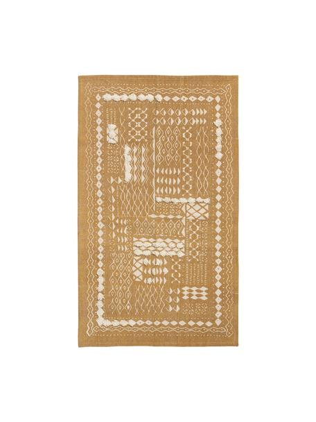 Tappeto boho in cotone con motivo a rilievo giallo senape/bianco Boa, 100% cotone, Giallo, bianco, Larg. 60 x Lung. 90 cm (taglia XXS)