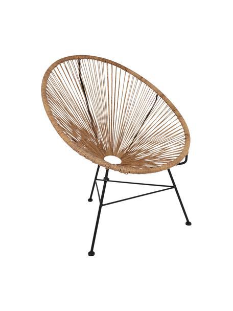 Fotel wypoczynkowy ze splotu z tworzywa sztucznego Bahia, Tworzywo sztuczne: beżowy Stelaż: czarny, S 81 x G 73 cm