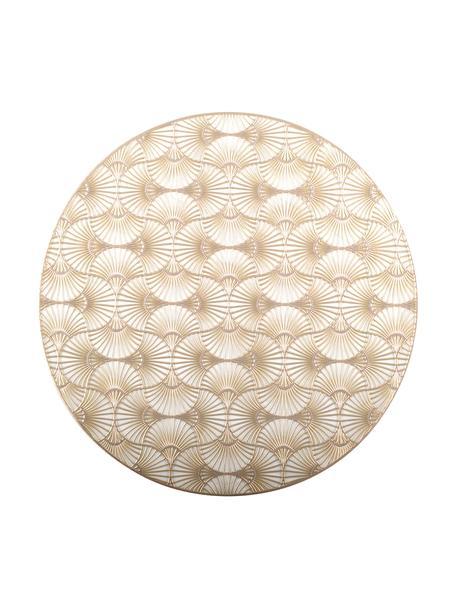 Ronde placemats Ginkgo, 2 stuks, Kunststof, Goudkleurig, Ø 38 cm