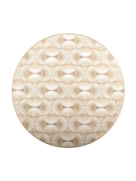 Ronde placemats Ginkgo goudkleurig, 2 stuks, Kunststof, Goudkleurig, Ø 38 cm