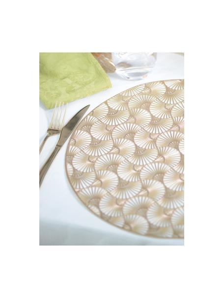 Runde Kunststoff-Tischsets Ginkgo in Gold, 2 Stück, Kunststoff, Goldfarben, Ø 38 cm