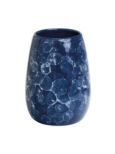 Kubek na szczoteczki z ceramiki Marble, Ceramika, Niebieski, Ø 9 x W 12 cm
