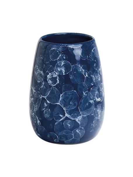 Tandenborstelbeker Blue Marble van keramiek, Keramiek, Blauw, Ø 9 x H 12 cm